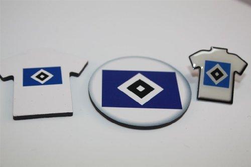 HSV Hamburger SV Fanset 3 teilig Trikot Pin , Magnet,Trikotmagnet Anstecker Bundesliga HH Hamburg