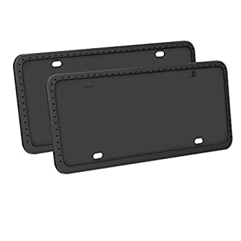 LivTee Silicone License Plate Covers & Frames Universal American Auto Accessory License Plate Frame Holder Rust-Proof Rattle-Proof Weather-Proof Black