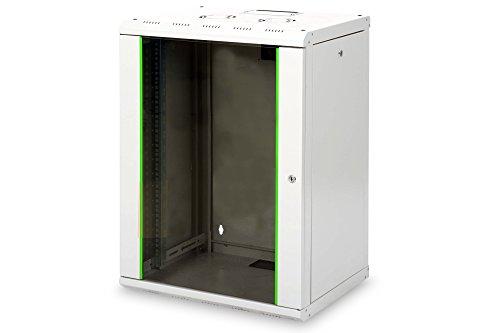 DIGITUS Netzwerk-Schrank 19 zoll 16 HE - Wandmontage - 450 mm Tiefe - Traglast 100 kg - Unique Serie - Glastür - Grau