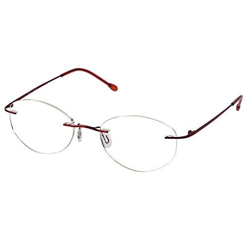MIDI (ミディ) 老眼鏡 ふちなし ブルーライトカット UVカット メタルフレーム オーバル レディース カラー:バーガンディ(M119,C2,+2.00)