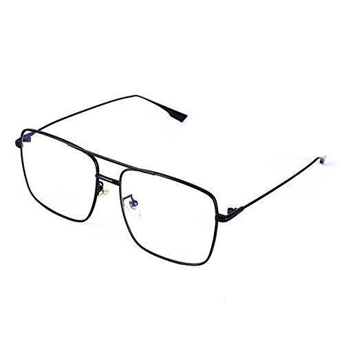 Gafas de Sol,Gafas de sol de moda Gafas de sol de montura grande con degradado de dos tonos para mujer, plano negro brillante/blanco