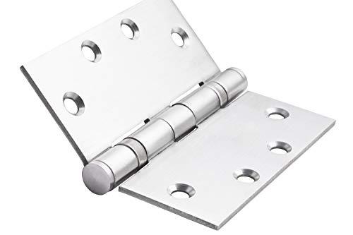 Global Door Controls 4.5 in. x 4.5 in. Satin Stainless Steel Ball Bearing Hinge - Set of 3