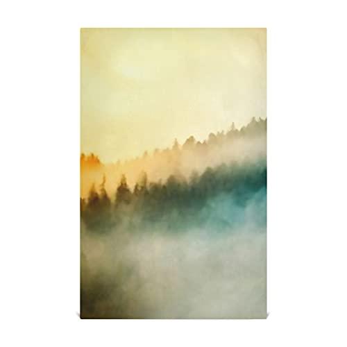 """Juego de toallas para platos de cocina, 4 colores, Sunrise, boscosas laderas de montaña, niebla, toallas de cocina grandes de 28""""x 18"""" pulgadas, toallas de cocina, paños de cocina, toallas decorativ"""