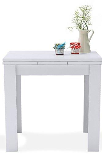 AVANTI TRENDSTORE - Merlox - Tavolo Piccolo a Forma Quadrata, allungabile a 136 cm, in Laminato Disponibile in 2 Diversi Colori, Dimensioni: Lap 80/136x78x80 cm (Bianco)