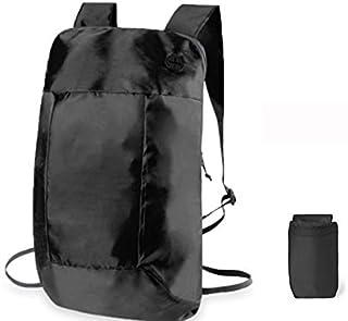 Mochila Plegable Básica Impermeable Compacta, Ligera y Pequeña - Ideal para Senderismo y Paseo al Aire Libre - con Salida para Auriculares 10 litros - Negra