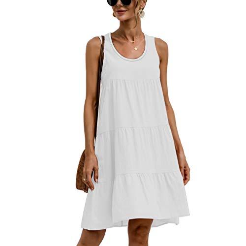 Vestiti Donna Casual Maniche Senza Abiti Estivi Linea T Shirt Dress Vestiti Tunica Estivo Senza Maniche Elegante Mini Abito a Pieghe Vestito, Bianco