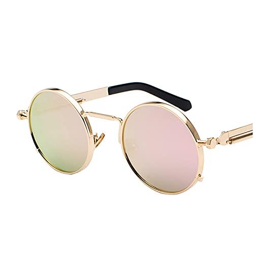 APOKIOG Gafas de sol redondas vintage para hombre, polarizadas con marco de metal redondo, gafas de sol modernas para mujer, marco de metal negro, UV400