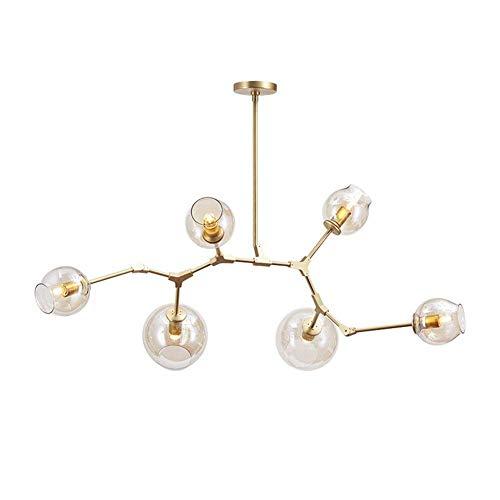 CUICAN E27 Sputnik Molecola Lampadari, Nordico Regolabile Ramo Palla Vetro Lampade A Sospensione Creativa Ferro Lampadari-trasparente 6-luci