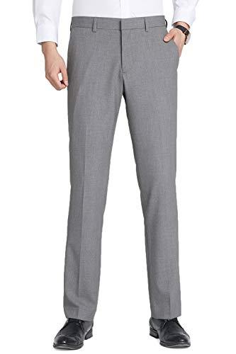 INFLATION Herren Anzughose Straight Leg Stretch Slim Fit Überöße Hellgrau Hose 36W x 32L