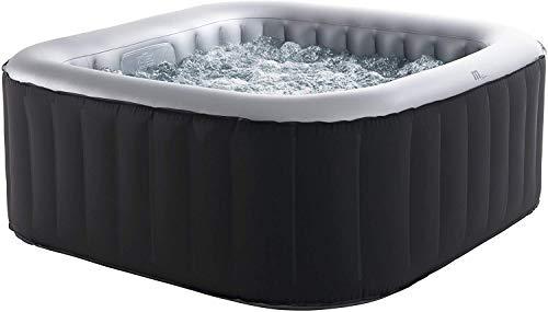 MSpa D-AL06 Delight Alpine 6 Person (4+2) Square Inflatable Hot Tub Spa Jacuzzi Includes Filter Pack, Remote & Cover, Black