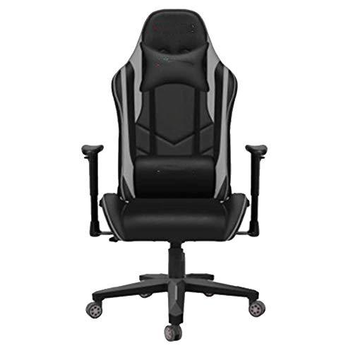 Verstellbarer Bürostuhl mit hoher Rückenlehne, neigbarer Stuhl, bequemer Drehstuhl, Spielstuhl grau schwarz ohne Fuß