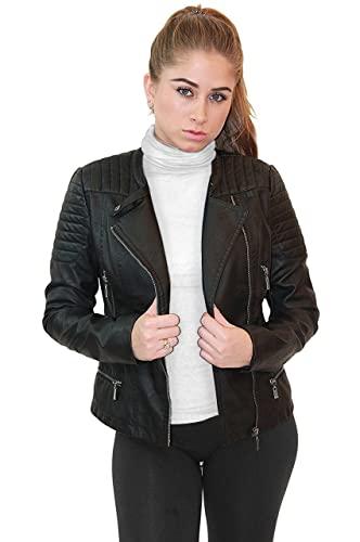 Womens Faux Leather Zip Up Moto Biker Jacket JK5207SX BLACK 1X