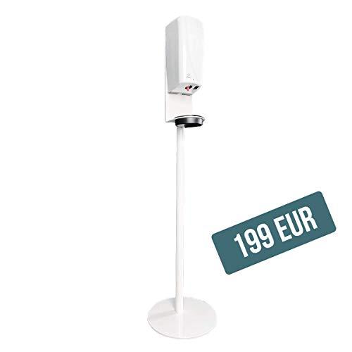 Desinfektionsstation H 119 cm in Weiß inkl. Spender Touchless, für flüssige Desinfektionsmittel, 1000ml, Desinfektionsständer, Desinfektionssäule, Sensor, Automatisch, Kontaktlos
