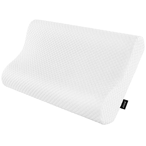 ATATN Memory Foam Pillow ,Ergonomic Contour Side Sleeping Pillow for Neck and Shoulder Pain , Orthopedic Cervical Bed Pillows for Back,Stomach ,Side Sleepers with Washable Pillowcase-Queen