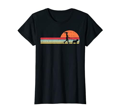 Girl Walking French Bulldog Retro Frenchie Dog Walker Gift T-Shirt