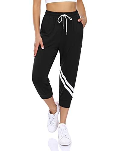 KOJOOIN Pantalones de deporte largos de algodón para mujer, pantalones de chándal de cintura alta, pantalones de chándal para correr, fitness, con rayas (paquete multiuso) B-black(3/4 Longitud) S
