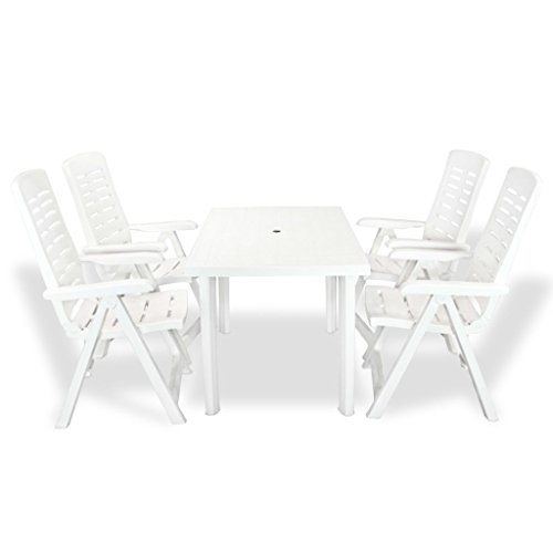 mewmewcat 5 Piece Outdoor Dining Set 1 Table and 4 Folding Chairs Weather-resistant Plastic White