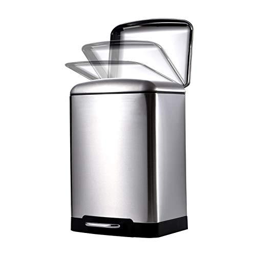 Papeleras En forma de tambor cuadrado de basura Silencio Can con Pedal Enganche abajo basura doméstica Papelera de acero inoxidable bote de basura con tapa for la cocina, oficina, hogar ( Size : 12L )