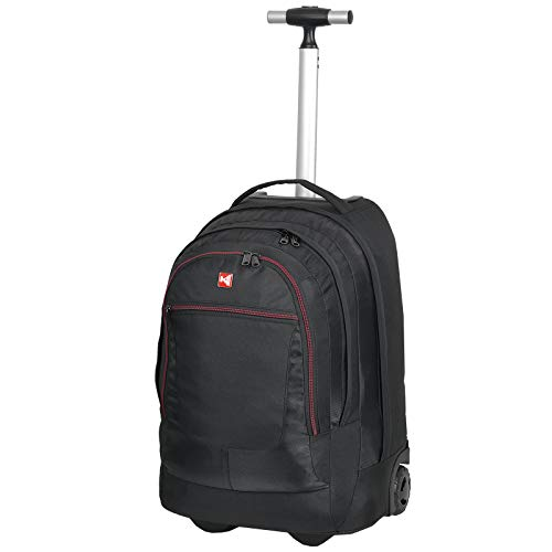 KEANU Premium Schultrolley hochwertiger XL Schulrucksack Rucksack Driver Cruiser Bordgepäck Ranzen Trolley :: Diverse Motive Butterfly Tattoo Dragon :: 35 Liter, Laptopfach (Black Red Trims K Logo)