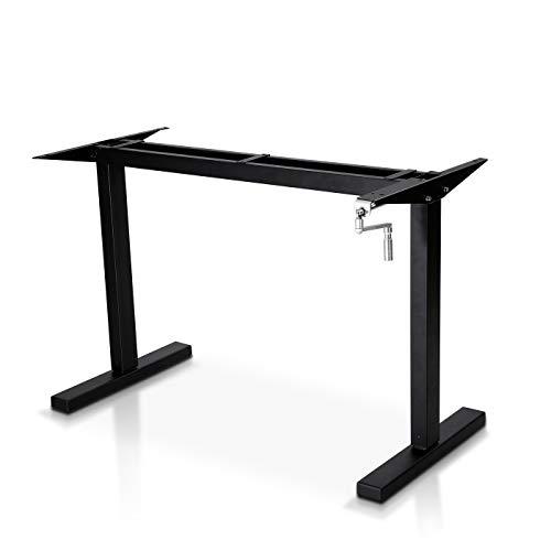 Cozy Castle Adjustable Height Standing Desk Frame Sit to Stand Up Desk Conversion Kit, with Manual Crank Handle, Ergonomic Standing 2 Legs Workstation (Only Desk Frame)