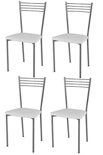 Tommychairs - Set 4 sedie modello Elena per cucina bar e sala da pranzo, struttura in acciaio verniciato color alluminio e seduta imbottita e rivestita in pelle artificiale colore bianco
