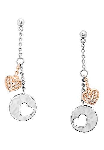 Fossil Damen-Ohrringe Herz Ohrhänger Silber Hearts JFS00493998