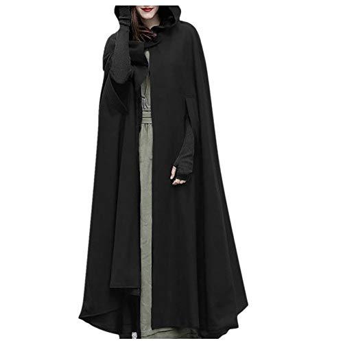 iHENGH Damen Herbst Winter Bequem Mantel Lässig Mode Jacke Frauen Trenchcoat Cardigan mit offener Vorderseite und Mantel Mantel Poncho Plus(Schwarz, XL)
