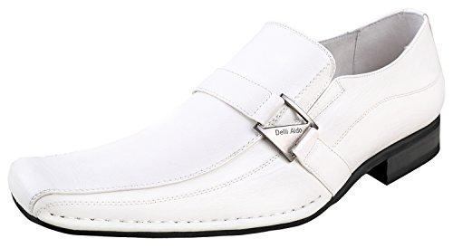 Delli Aldo M-19231 Mens Loafers Dress Classic Shoes with Leather Lining,White,10