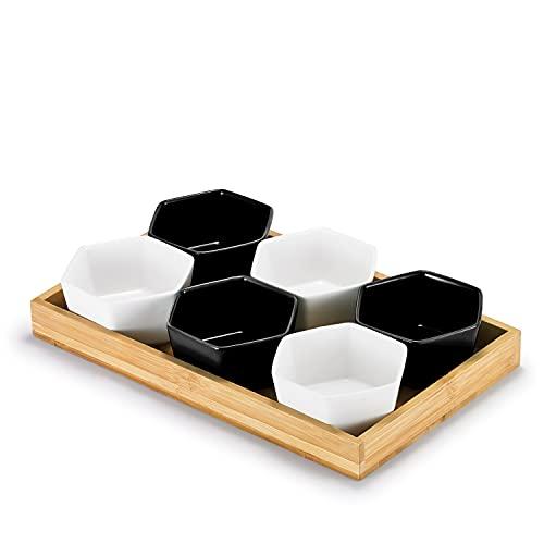 Supremery Juego de 6 cuencos para servir aperitivos de cerámica con bandeja de bambú, cuencos de postre, cuadrados, cuencos para tapas, salsas, postres, cuencos para salsas