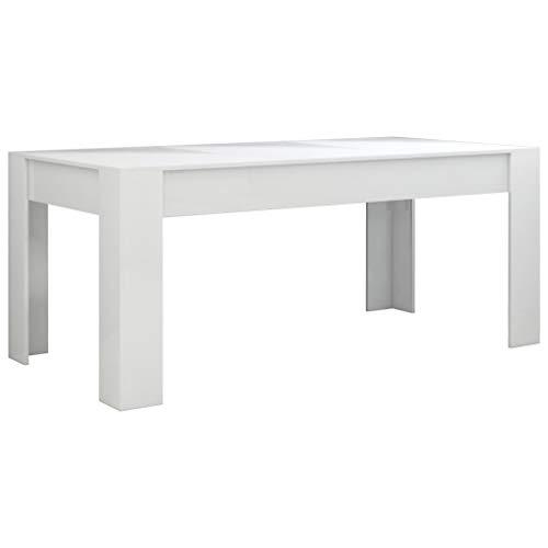vidaXL Mesa de Comedor Muebles de Salón Cocina Sala de Estar Hogar Robusto Estable Duradera Moderna de Aglomerado Blanco con Brillo 180x90x76 cm