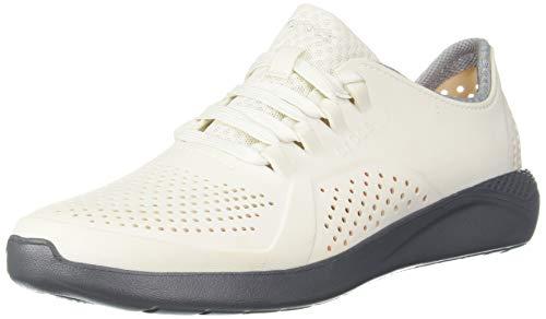 Crocs Men's LiteRide Pacer Sneaker, Almost white/slate Grey, 4 M US