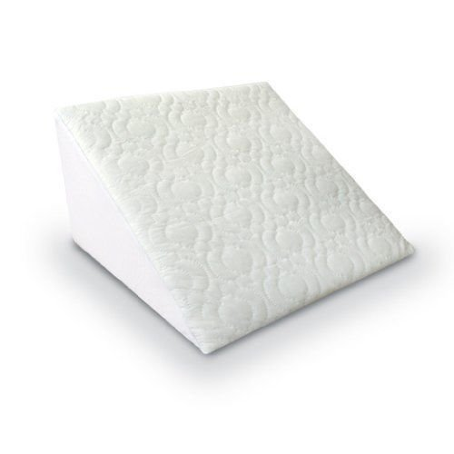 Multi Purpose Adult Comfort Pain Relief Back Support Foam Hypoallergenic Bed Elevate Wedge Pillow Cushion for Acid Reflux, GERD, Heartburn & Indigestion with Soft White Removable Quilted Cover
