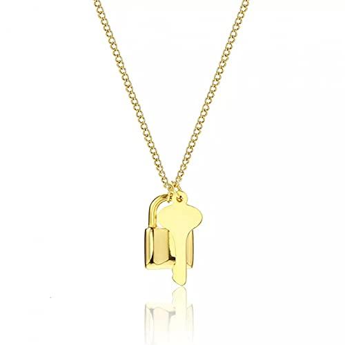 OYHBV Collar Collar De Encanto De Llave De Bloqueo De Amor Dorado De Acero Inoxidable Collar De Joyería Único Creativo para Mujer Regalo De San Valentín