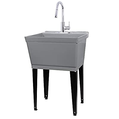 Laundry Sink Utility Tub With High Arc Chrome Pull Down Faucet By JS Jackson Supplies, Heavy Duty Sinks With Installation Kit for Washing Room, Workshop, Basement, Garage, Slop Sink, Grey Tub
