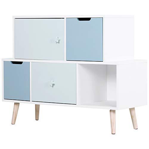 HOMCOM Meuble de Rangement pour Enfant - Commode scandinave - 3 tiroirs - Placard - Niche - dim. 105L x 40l x 81H cm - MDF Blanc Bleu Bois Massif pin
