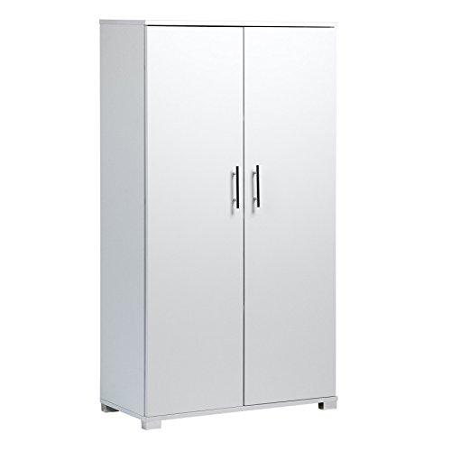 Weiß Büroschrank mit Flügeltüren Für Ablage, Aufbewahrung, Büromaterial, 4 Fachböden, 2-türiger Schrank, 800 mm breit, große Kapazität: 40 x A4 Ordner