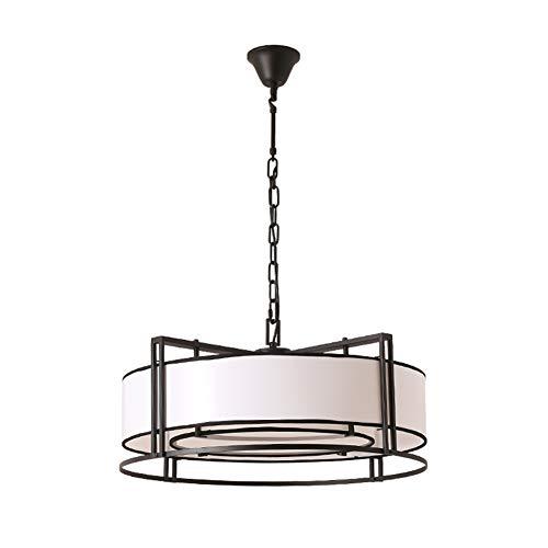 3 Light Drum Pendelleuchte mit Stoffschirm, Schmiedeeisen Classic Cabrio Kronleuchter für Wohnküche Schlafzimmer Esszimmer