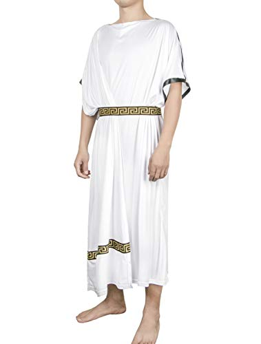 EAWIN Mens Deluxe Classic Toga Costume Set Including Tunic, Belt, and Gold Metal Laurel Wreath Roman God Party Dress