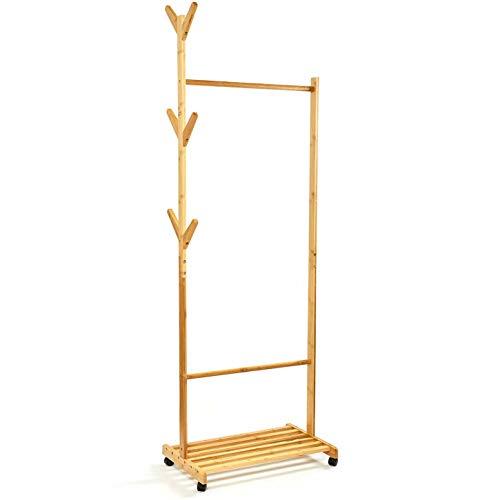 bambuswald© fahrbarer Kleiderständer | Garderobenständer aus 100% Bambus ca. 173x54,5x36cm mit Ablageflächen - Garderobe mit separaten Haken & Platz für Accessoires | Rollkleiderständer Rollgarderobe