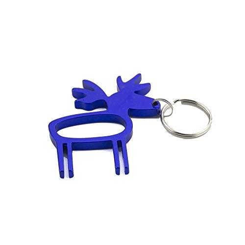 GQDZ Tier Flaschenöffner Schlüsselanhänger Aluminiumlegierung Bier-Öffner-Schlüsselringe mit Gravur Logo for Wedding Favor Geschenke Korkenzieher (Color : Moss)
