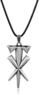 Fashion Jewelry Geometric Cross Undertaker Pendant Necklace Leather Cord Necklace Metal Cool Accessories Gift For Men