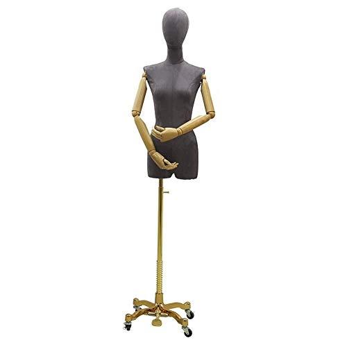 ZSMPY Mannequin Büste, Narr Näherin Mannequin Fashion Show Studenten Schneider Goldene Büste Stativfuß 2-Loch-Design Mit Holzarm Brautkleid-Shop (Color : D)