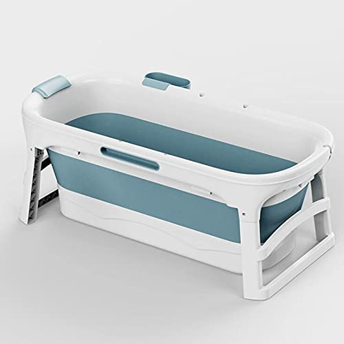 SwinKz Bañera Plegable, Bañera Portátil Adulta, Tanque De Almacenamiento De Bañera De Hidromasaje Antideslizante Grande para Almacenamiento Térmico SPA Azul Rosa(Size:sin Cobertura,Color:Azul)