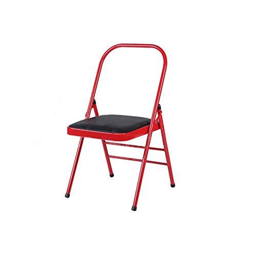 ECSD Rembourré en Acier Renforcé Professionnel Yoga Auxiliaire Chaise Pliante, en Cuir PU/Mesh Siège, Coussin Double Éponge (Couleur : Red/Black)