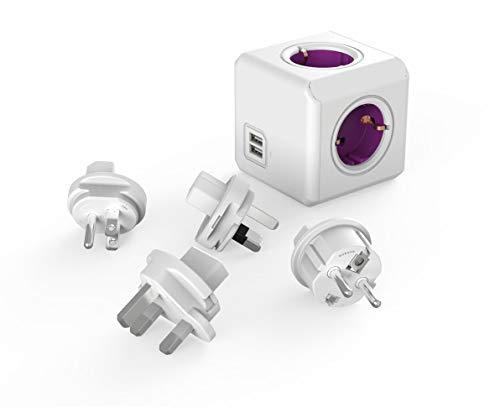 Travel-Cube ReWirable DuoUSB, Power-Würfel für 4 Stecker und 2 USB Ports (2,1 A), Mehrfach-Steckdose mit Reise-Adapter für DE/FR, UK USA AUS, ohne Kabel, Magenta-weiß