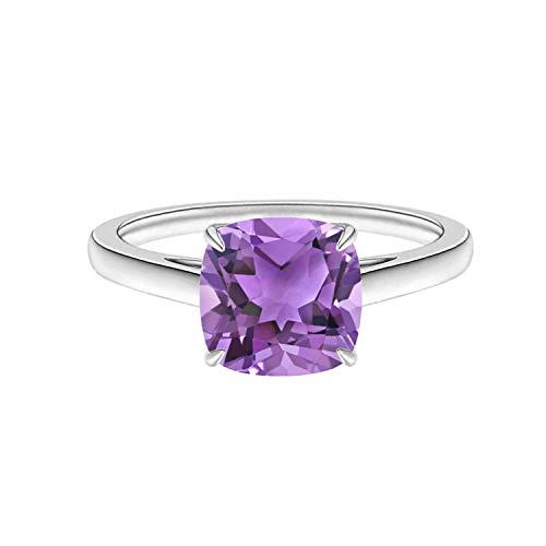 Shine Jewel 1.3 CTW Cojín Solitario Clásico Anillo de Promesa Nupcial de Piedras Preciosas de Amatista Plata 925 (25)