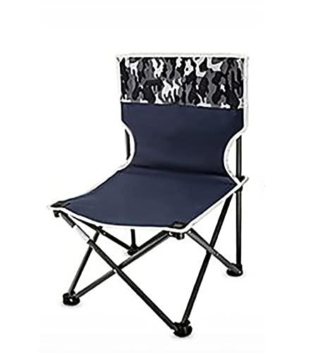 LJWLZFVT ,Silla de Camping portátil Puede soportar una Silla Plegable Ultraligera compacta de 250 kg una Silla de Mochila para Acampar Muy Adecuada para Caminatas-Camuflaje Azul 33x33x55cm