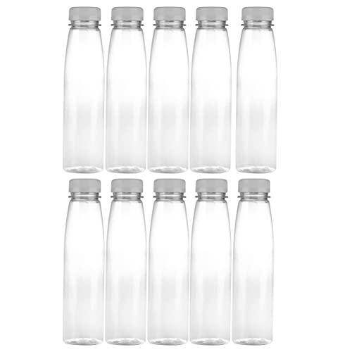 Lurrose 10 Unidades de Botellas de Jugo de Plástico de 330Ml Botella Vacía de Bebida Transparente de Viaje Botella de Beber de Leche Rellenable Contenedor para Té Bebidas Frías Yogurt