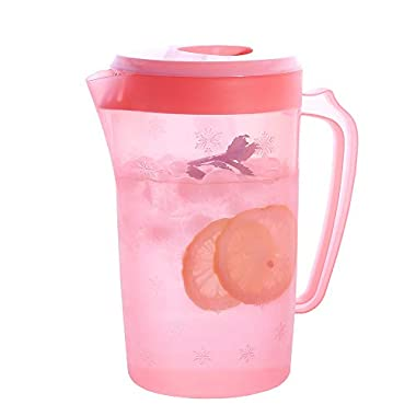 UPSTYLE Food-Grade Plastic Covered Pitcher with Lid Water Bottle Container Juice Jug Great for Cold Water, Ice Tea, Juice, Fruit and Beverages (2200ml/75oz/0.58Gallon/2Quart Pink)