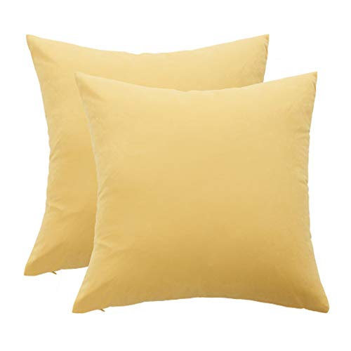 Mushanhun Suave Fundas para Cojines 45x45 cm (18x18 Pulgadas), Decoración Fundas de Almohada Cuadradas con Cremallera Invisible para Sala de Estar Dormitorio Sofá, Paquete de 2 – (Naranja Amarillo)